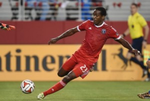 Captain of the St. Kitts and Nevis Football Team and FC Dallas player, Atiba Harris in action for the Sugar Boyz against the Turks and Caicos Islands