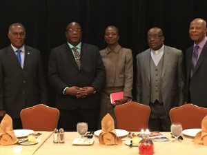 Premier of Nevis Hon Vance Amory, Prime Minister of St.Kitts-Nevis Dr. Timothy Harris, Dr. Leslie Wade, Rev . Mastine Nisbett and Sir Hugh Rawlins at Hearts and Hands for Nevis Luncheon in NYC