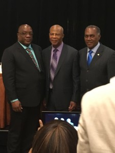 L-R Prime Minister Dr. Timothy Harris-Sir Hugh Rawlins and Premier Vance Amory