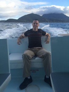 Roger Ver on a Sea Taxi heading to St Kitts from the neighbouring island of Nevis